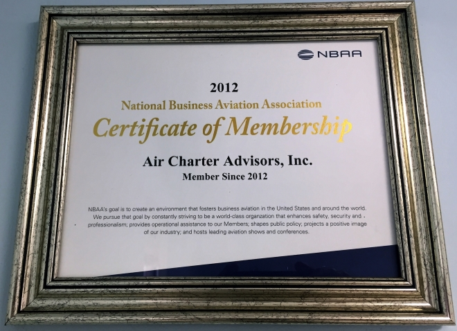 2012 Certificate of Membership NBAA