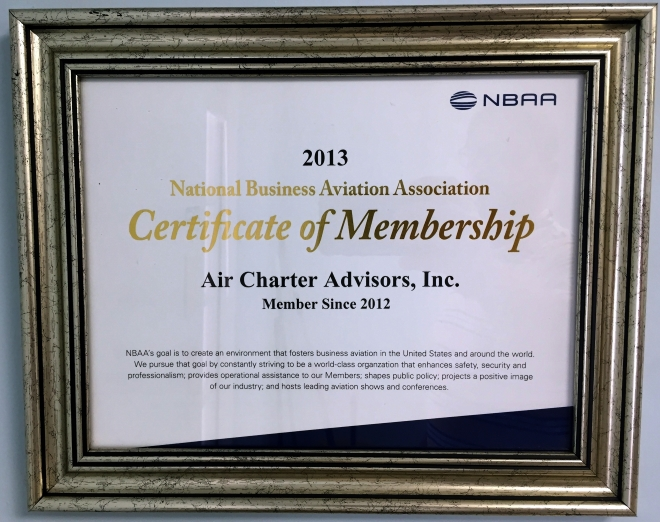 2013 Certificate of Membership NBAA