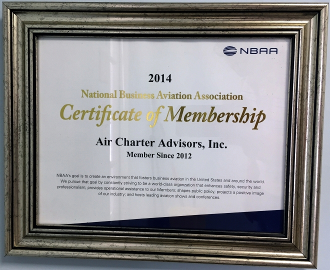 2014 Certificate of Membership NBAA
