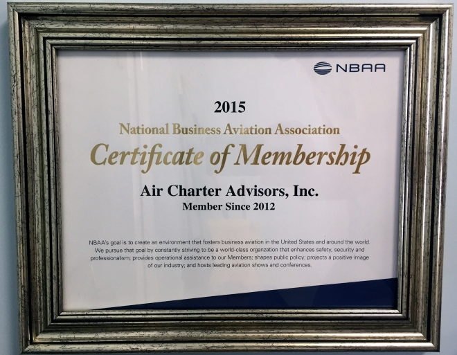 2015 Certificate of Membership NBAA