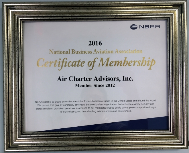 2016 Certificate of Membership NBAA