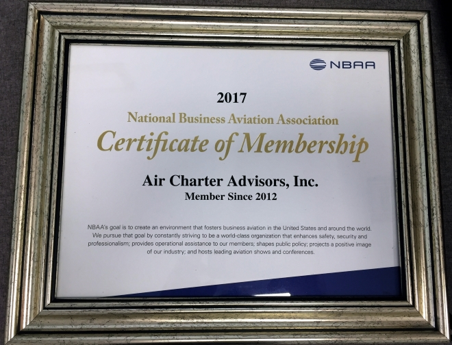 2017 Certificate of Membership NBAA