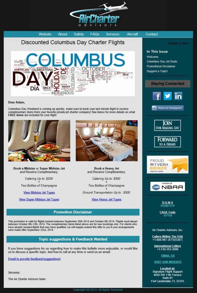 Discounted Columbus Day Charter Flights 2014