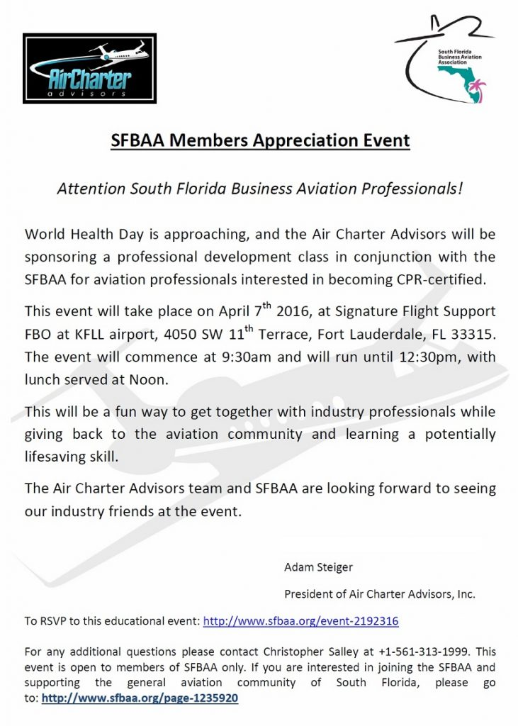 SFBAA CPR Event at Signature Flight Support