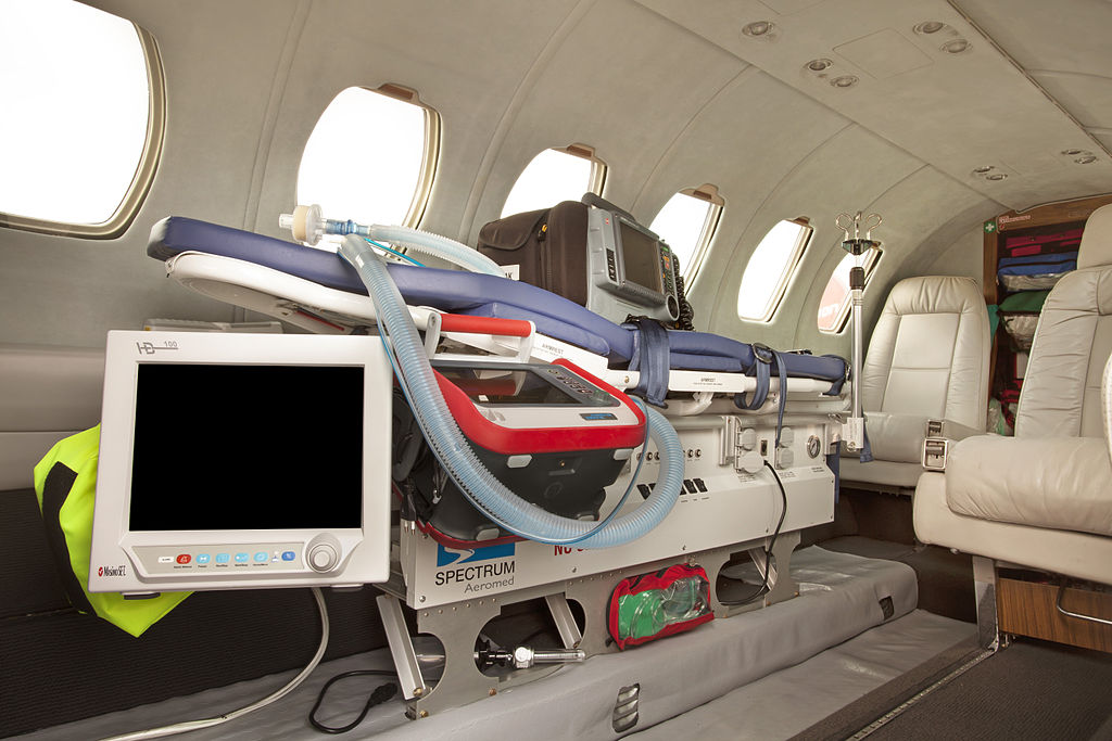 Interior of a Private Plane in Medical Jet Charter Configuaration